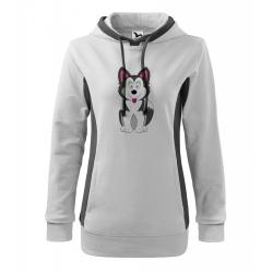 Obrázek Mikina Kangaroo - Veselá zvířátka - Husky, vel. M , bílá