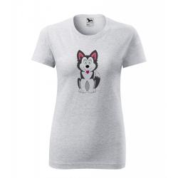 Obrázek Dámské Tričko Classic New - Veselá zvířátka - Husky, vel. S , šedý melír