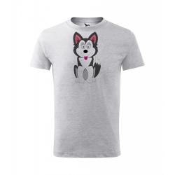 Obrázek Dětské Tričko Classic New - Veselá zvířátka - Husky, vel. 6 let - šedý melír