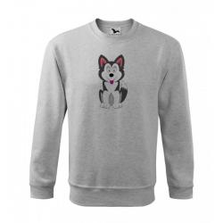 Obrázek Mikina Essential - Veselá zvířátka - Husky, vel. 12 let - šedý melír