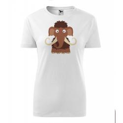 Obrázek Dámské Tričko Classic New - Veselá zvířátka - Mamut, vel. S , bílá