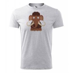 Obrázek Pánské Tričko Classic New - Veselá zvířátka - Mamut, vel. S - šedý melír