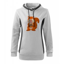 Obrázek Mikina Kangaroo - Veselá zvířátka - Veverka, vel. M , bílá