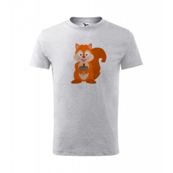 Obrázek Dětské Tričko Classic New - Veselá zvířátka - Veverka, vel. 6 let - šedý melír