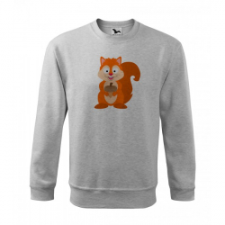Obrázek Mikina Essential - Veselá zvířátka - Veverka, vel. 12 let - šedý melír