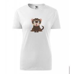 Obrázek Dámské Tričko Classic New - Veselá zvířátka - Fretka, vel. S , bílá