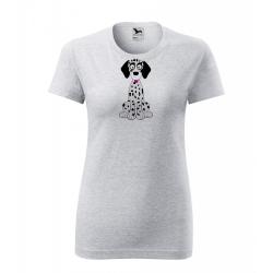 Obrázek Dámské Tričko Classic New - Veselá zvířátka - Dalmatin, vel. S , šedý melír