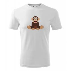 Obrázek Pánské Tričko Classic New - Veselá zvířátka - Šimpanz, vel. S , bílá