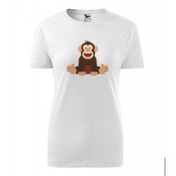 Obrázek Dámské Tričko Classic New - Veselá zvířátka - Šimpanz, vel. S , bílá