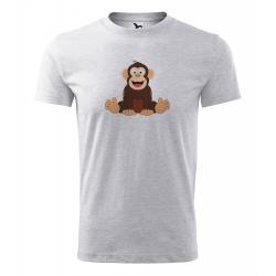 Obrázek Pánské Tričko Classic New - Veselá zvířátka - Šimpanz, vel. S - šedý melír