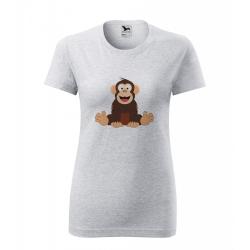 Obrázek Dámské Tričko Classic New - Veselá zvířátka - Šimpanz, vel. S , šedý melír