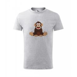 Obrázek Dětské Tričko Classic New - Veselá zvířátka - Šimpanz, vel. 6 let - šedý melír