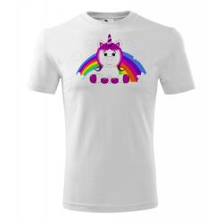 Obrázek Pánské Tričko Classic New - Veselá zvířátka - Jednorožec, vel. S , bílá