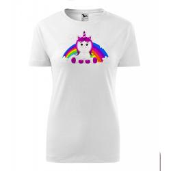 Obrázek Dámské Tričko Classic New - Veselá zvířátka - Jednorožec, vel. S , bílá