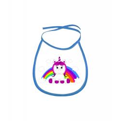Obrázek Dětský bryndák Veselá zvířátka - Jednorožec - modrý