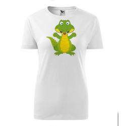 Obrázek Dámské Tričko Classic New - Veselá zvířátka - Krokodýl, vel. S - bílá