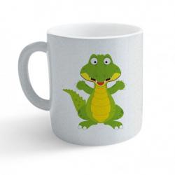 Obrázek Hrnek Veselá zvířátka - Krokodýl - třpytivý stříbrný