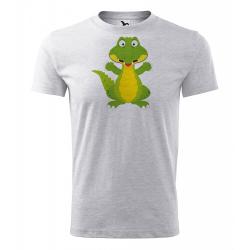 Obrázek Pánské Tričko Classic New - Veselá zvířátka - Krokodýl, vel. S - šedý melír