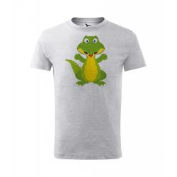 Obrázek Dětské Tričko Classic New - Veselá zvířátka - Krokodýl, vel. 6 let - šedý melír