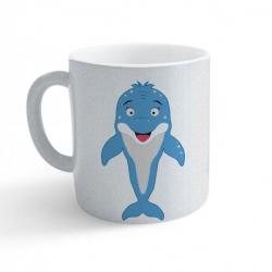 Obrázek Hrnek Veselá zvířátka - Delfínek - třpytivý stříbrný