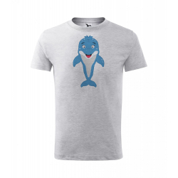 Obrázek Dětské Tričko Classic New - Veselá zvířátka - Delfínek, vel. 6 let , šedý melír