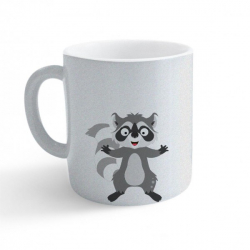 Obrázek Hrnek Veselá zvířátka - Mýval - třpytivý stříbrný