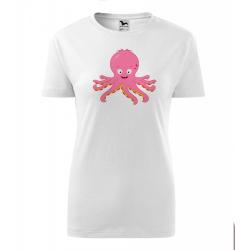 Obrázek Dámské Tričko Classic New - Veselá zvířátka - Chobotnička, vel. S , bílá