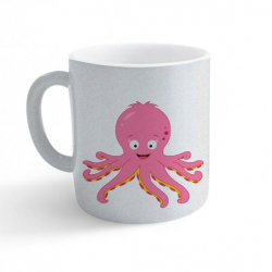 Obrázek Hrnek Veselá zvířátka - Chobotnička - třpytivý stříbrný