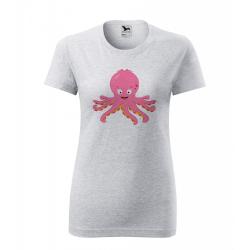 Obrázek Dámské Tričko Classic New - Veselá zvířátka - Chobotnička, vel. S , šedý melír