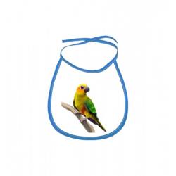 Obrázek Dětský bryndák Malovaná zvířátka - Papoušek - modrý