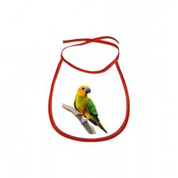 Obrázek Dětský bryndák Malovaná zvířátka - Papoušek - červený