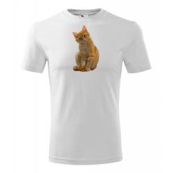 Obrázek Pánské Tričko Classic New - Malovaná zvířátka - Kočička, vel. S , bílá