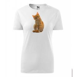 Obrázek Dámské Tričko Classic New - Malovaná zvířátka - Kočička, vel. S , bílá