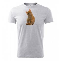 Obrázek Pánské Tričko Classic New - Malovaná zvířátka - Kočička, vel. S - šedý melír