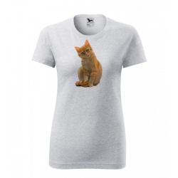 Obrázek Dámské Tričko Classic New - Malovaná zvířátka - Kočička, vel. S - šedý melír