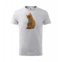 Obrázek Dětské Tričko Classic New - Malovaná zvířátka - Kočička, vel. 6 let - šedý melír
