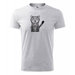 Obrázek Pánské Tričko Classic New - Tučňák a jeho kamarádi - #20 levhart sněžný, vel. S , šedý melír