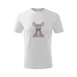 Obrázek Dětské Tričko Classic New - Veselá zvířátka - Myška, vel. 6 let - bílá