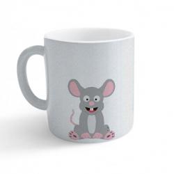 Obrázek Hrnek Veselá zvířátka - Myška - třpytivý stříbrný