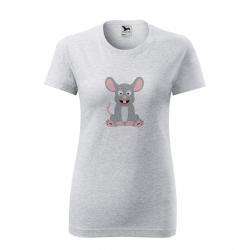 Obrázek Dámské Tričko Classic New - Veselá zvířátka - Myška, vel. S - šedý melír
