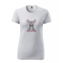 Obrázek Dámské Tričko Classic New - Veselá zvířátka - Myška, vel. S , šedý melír