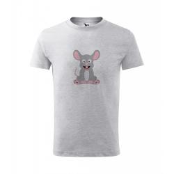 Obrázek Dětské Tričko Classic New - Veselá zvířátka - Myška, vel. 6 let - šedý melír