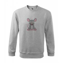 Obrázek Mikina Essential - Veselá zvířátka - Myška, vel. 12 let - šedý melír