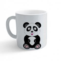 Obrázek Hrnek Veselá zvířátka - Panda - třpytivý stříbrný