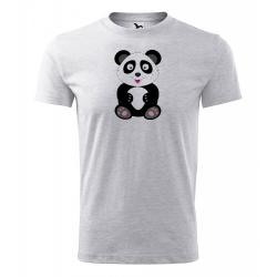 Obrázek Pánské Tričko Classic New - Veselá zvířátka - Panda, vel. S , šedý melír