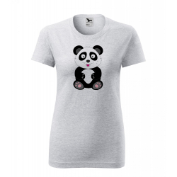 Obrázek Dámské Tričko Classic New - Veselá zvířátka - Panda, vel. S , šedý melír