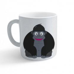Obrázek Hrnek Veselá zvířátka - Gorila - třpytivý stříbrný