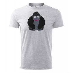 Obrázek Pánské Tričko Classic New - Veselá zvířátka - Gorila, vel. S , šedý melír