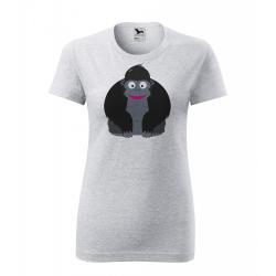 Obrázek Dámské Tričko Classic New - Veselá zvířátka - Gorila, vel. S , šedý melír