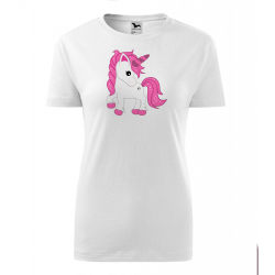 Obrázek Dámské Tričko Classic New - Fantasy - Unicorn, vel. S , bílá